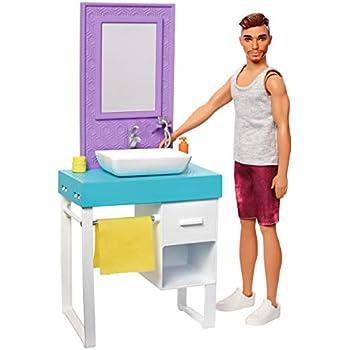 Barbie Fyk53 Bathroom Themed Playset With Shaving Ken