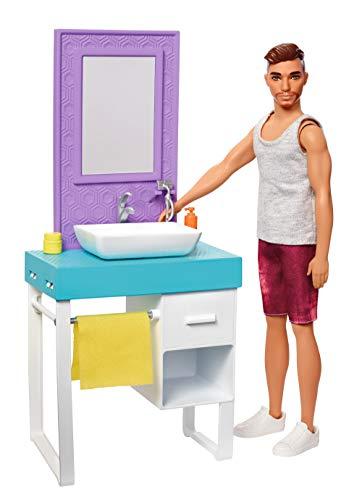 Barbie Coffret poupée Ken à raser et sa salle de bains, meuble avec vasque et accessoires, jouet pour enfant, FYK53