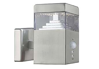 Lumihome DEC/AM30-SE Applique pyramide Inox 30 LED + Détecteur de mouvement réglable en Métal Gris