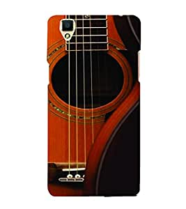 PrintVisa Music Guitar Strings 3D Hard Polycarbonate Designer Back Case Cover for Oppo F1