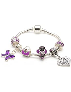 Bling Rocks Kinder Big Sister 'Purple Fairy Dream', Silber, Pandora-Stil, Weißes Charm.Bead englischer Aufschrift...