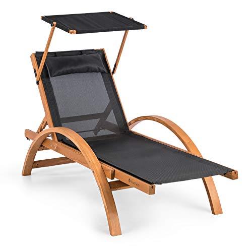 Blumfeldt panamera • sdraio con parasole • lettino da giardino • sdraio • tettuccio apribile • ergonomico • comfortmesh • pino finlandese • max. 150kg • incluso cuscino • nero