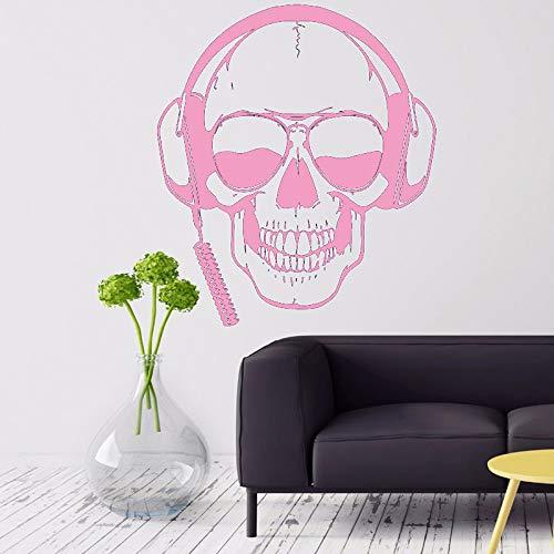 Gamer Tatuajes de pared Cráneo Auriculares Gamer Etiqueta de la pared Gafas de sol extraíbles Jugador Cartel de la pared Niños Habitación Juegos Decoración Rosa 42X49CM