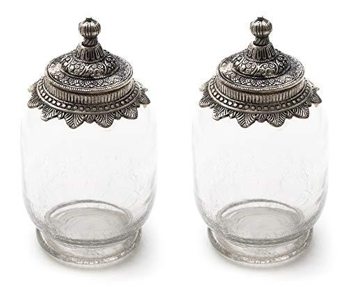 DARO DEKO Glas mit Metalldeckel Größe L - 2 Stück - Crackle Glas Antik