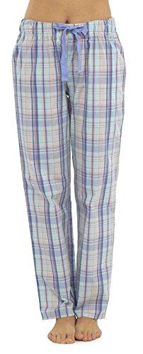 2 Stück Baumwolle Pyjama Bottoms (Damen-Freizeithose von Lora Dora, Nachtwäsche, Freizeitkleidung, legerer Damen-Pyjama, Pyjama-Unterteil, Größen 36-46 Gr. 42, Lila (kariert))