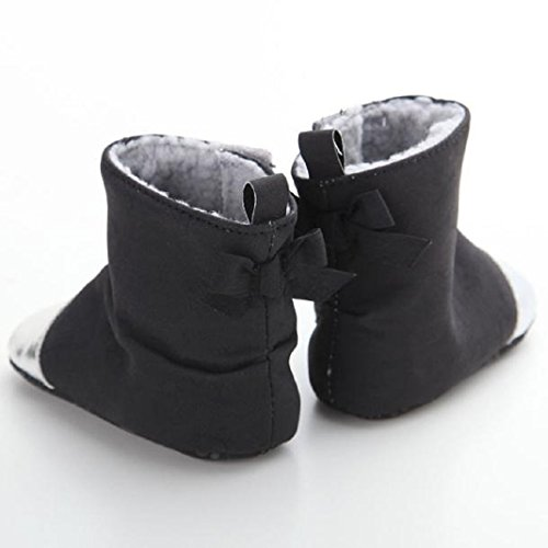 kingko® Säuglingsschätzchen weichen Anti-Rutsch-Schneeschuhe Winter warm Torhüter Schwarz