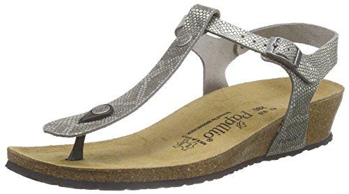Birkenstock - Ashley Leder, Scarpe col tacco con cinturino a T Donna Grigio (Grau (Royal Python Gray))