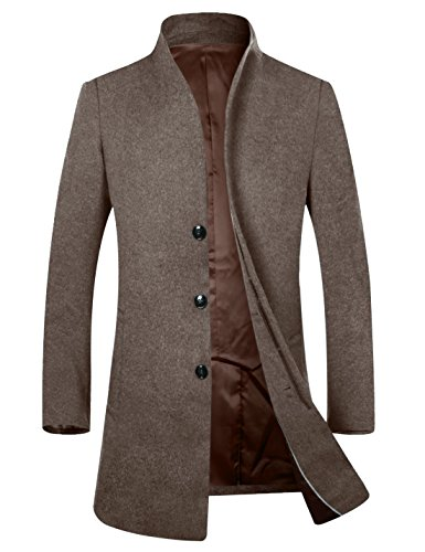 APTRO Herren Wintermantel 100% reine Schurwolle 2016 Fashion Modern Lange Mantel Business Mantel (Herbst und Frühwinter)-Braun XL