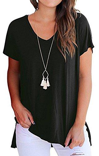 BLACKMYTH Women Summer Loose T-Shirt Short Sleeve Blouse Split V-Neck Tops
