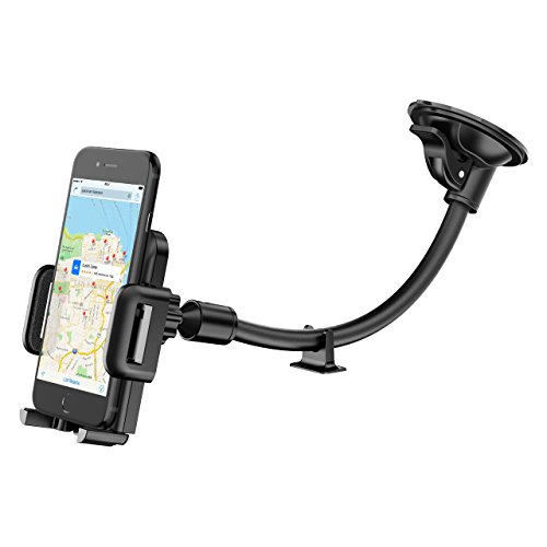 Phone Holder for Car, Mpow Windscreen Car Phone Mount Universal Windshield Car Mount with Extra Dashboard Base and Long Flexible Arm Cars Cradle for iPhone 7 6s Plus 6s 5 Samsung S8 S7 HTC Sony LG and Others