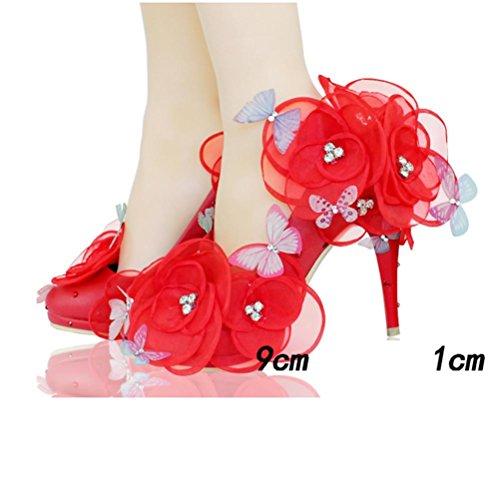 Qpyc Chaussures De Mariage Pour Les Femmes Chaussures De Mariage Pour Les Adultes De Mariage Chaussures De Mariée De Pure Mariée Chaussures De Mariage Pour Les Femmes Copines Fleurs Blanches Papillon 9cm Rouge