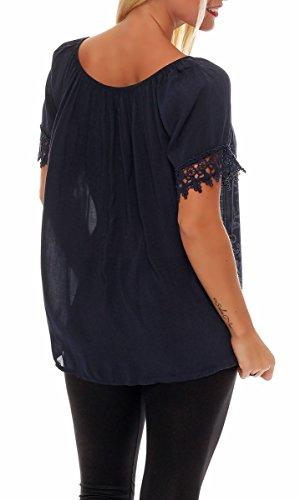 Malito Damen Bluse in Vielen Farben und Formen | Oberteile mit Verschiedenen Mustern �?Shirts 7213 dunkelblau-Blume