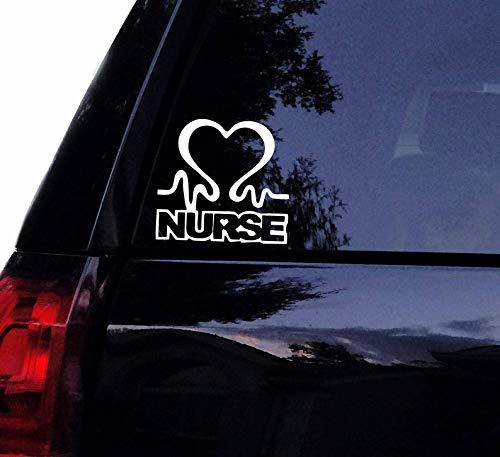 CELYCASY Krankenschwester Herzschlag Line Aufkleber - Medizinische Krankenschwester Vinyl-Aufkleber für Laptop Auto Wand Fenster Wand -