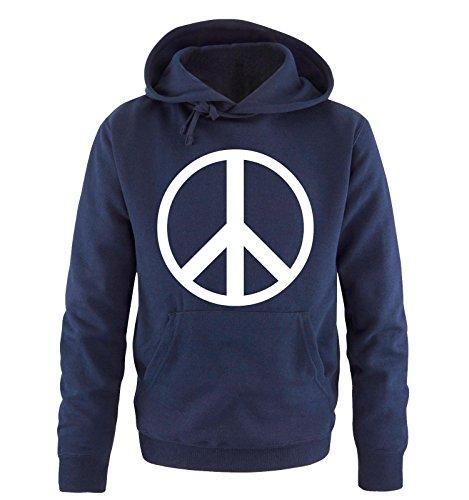 Comedy Shirts - PEACE - Uomo Hoodie cappuccio sweater - taglia S-XXL vari colori blu navy / bianco