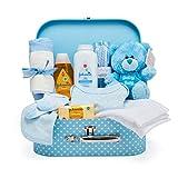 Baby Box Shop - Cesta regalo bebé para baby shower con todo lo esencial para bebes recién nacidos con osito de peluche y caja de recuerdos