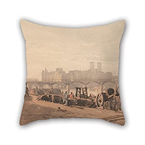 Elegancebeauty Oil Painting Richard Parkes Bonington - Ile De La Cite Cushion Covers 20 X 20 Inches / 50 By 50 Cm For Husband Birthday Dance Room Kids Room Son Bar With Two Sides