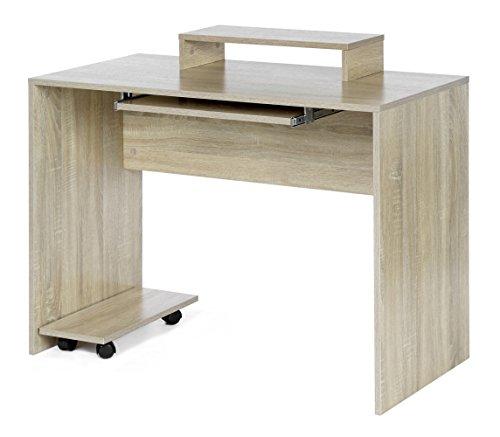 ts-ideen Arbeitstisch Computertisch Bürotisch PC-Tisch mit Tastaturauszug und Monitorablage Eiche