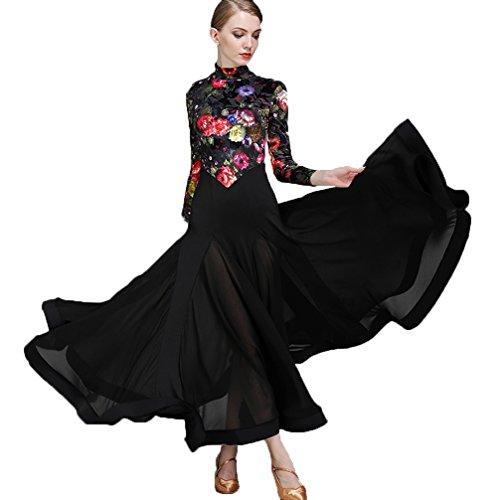 Walzer Modernes Tanzkleid für Frauen Samt Mode-Druck Nationaler Standardtanz Ballroom Dance Wettbewerb Kostüm Tango Performance Tanzoutfit, Black, ()