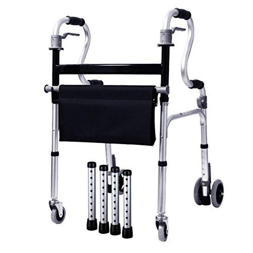 Multifunktions leichte 5,4 kg faltbare Erwachsenen Senioren Rollator gehen Fram Aid 4 Rad | Aluminiumlegierung | mit Sitz, abschließbare Bremsen | Höhenverstellbar 86-93cm | Maximale Belastung 180kg