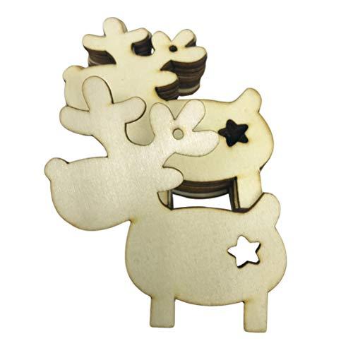 STOBOK 30 stücke Holz Weihnachtsschmuck mit Rentier Weihnachtsbaum Hängen Dekorationen Rustikale Ornamente Tag DIY Handwerk Holz Scheiben für Urlaub Partei Ornamente