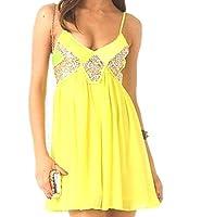 Tootlessly Women's Summer Sleeveless Stylish V-Neck Vest Dresses Yellow XS