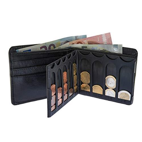 EiMiX Nappa Geldbeutel - für sortierte Münzen - echtes Vollrindleder Portmonee flach moderner Look Geldbörse Querformat - Made in Germany - schwarz - Wildleder Portemonnaie