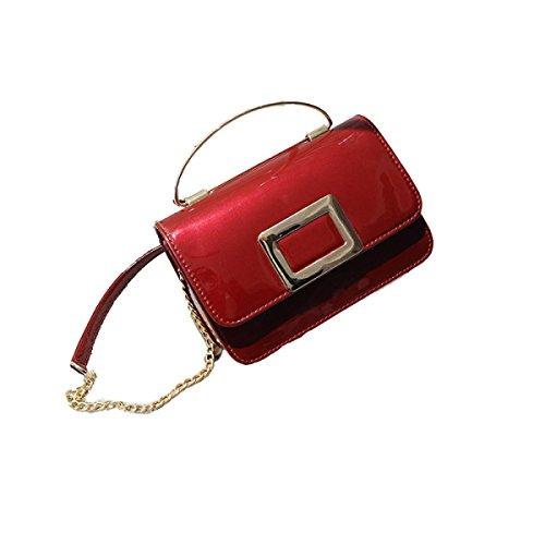 FZHLY Nuova Catena Piccola Piazza Del Fashion Bag Borsa A Tracolla,Black WineRed