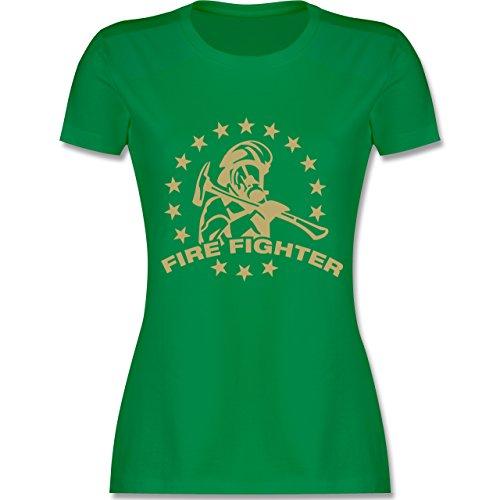 Feuerwehr - Fire Fighter - tailliertes Premium T-Shirt mit Rundhalsausschnitt für Damen Grün