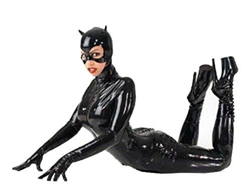 Wdj Sexy A Tre Pezzi Tuta Catwoman Catsuit Pelle Verniciata Clubwear Abbigliamento,Black,M