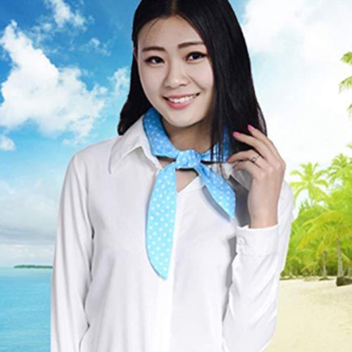 Yuwooben Pretty Summer Charm Cooler Schal Sommer Hals Arm Körper Eiskühlend Stirnband Handtuch Bandana Cool Wrap - Blue, White. -