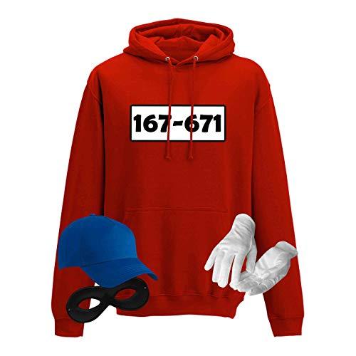 Hoodie Panzerknacker Herren Deluxe+ Kostüm-Set Wunschnummer Karneval JGA XS - 5XL Fasching JGA Party Sitzung, Größe:2XL, Logo & Set:Standard-Nr./Set komplett (167-761/Hoodie+Cap+Maske+Handschuhe)