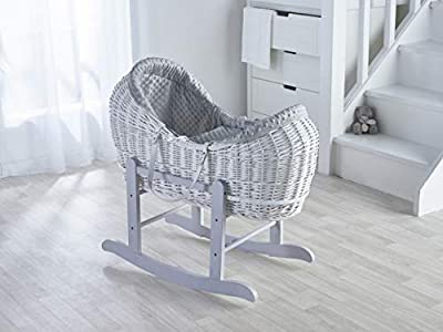 Grey Dimple White Wicker Noah Pod Moses Basket with Deluxe Grey Rocking Stand