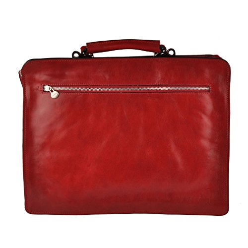 Pellevera Napoli designer leather briefcase. Business-Tasche (rot) rot