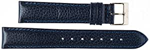 Kaiser Watches Leather Band Watch Strap Leather Band Dark Blue 18 mm Clasp: Yellow 18 mm