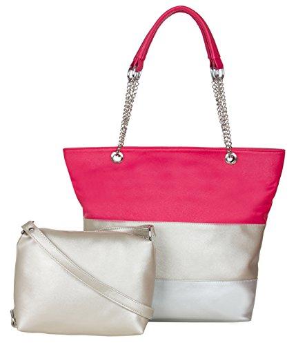 ADISA Women\'s AD3016 Synthetic Handbag with Sling Bag Combo (Hot Pink)