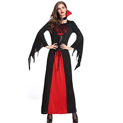 Kostüm Gothic Adult Hexe - Halloween Gothic HexenkostüM Mit Halsschmuck,Vampir Langer Rock,Geeignet FüR Erwachsene Frauen Party-Rollenspiel Karneval BüHnenkostüM KöNigin Kleid,DREI GrößEn,Schwarz,XL