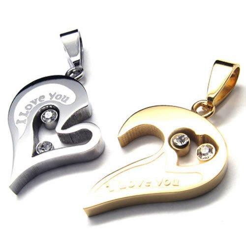 KONOV Schmuck 2 Freundschaftsketten Herz Edelstahl Partner-Anhänger mit 45cm und 55cm Kette, Halskette für Damen & Herren, Gold Silber
