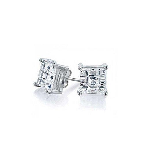 Akki Schmuck 925 Silber Ohrringe Männer Damen Herren Ohrstecker mm Quadrat Stein viereckige Ohrringe Ronaldo Style 14mm