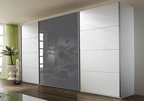 Rauch V9333.W010 Schwebetürenschrank Quadra / 3-türig / 1 Glastüre / B 316 H 210 T 62 cm / Korpus/Front: alpinweiß, Absetzungen, glas grau