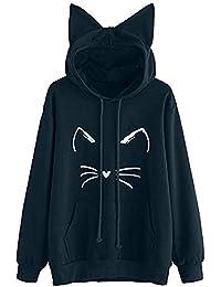 ❤️Meilleure Vente! LuckyGirls Mode Femme Nouveau Automne Hiver Sweatshirt Femmes Impression de Chat Manche Longue Sweat à Capuche Pullover Sweat-Shirt Chemisier Noir Vin - Maxi - XL