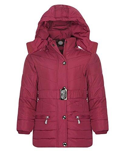 LOTMART Mädchen Lang Gesteppt Winter Jacke Kinder Mit gürtel Abnehmbare Kapuze Gepolstert Reißverschlussmantel