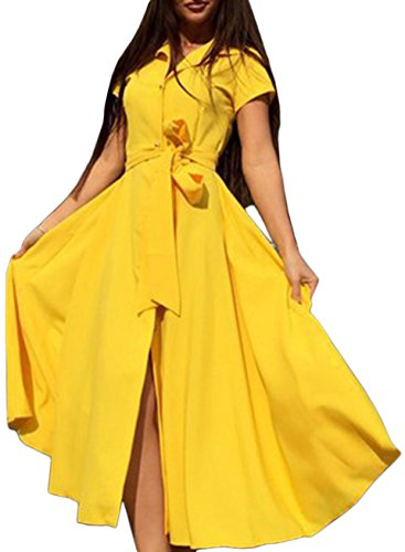 Azbro Women's Short Sleeve Split Mid Shirt Dress with Belt Yellow