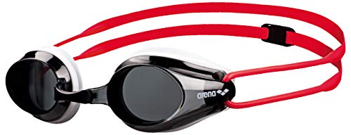 arena Kinder Unisex Training Wettkampf Schwimmbrille Tracks Junior (UV-Schutz, Anti-Fog, Harte Gläser), rot (Smoke-White-Red), One Size