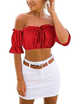 Yidarton Mujer De Camiseta Fuera Del Hombro Blusa Casual Tops Camisa De Manga Corta De Las Mujeres Verano