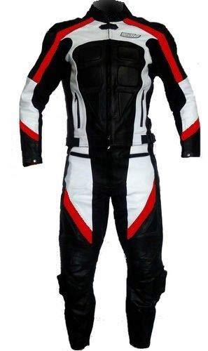 WinNet Tuta da moto di pelle divisibile in 2 due pezzi giacca e pantaloni con protezioni