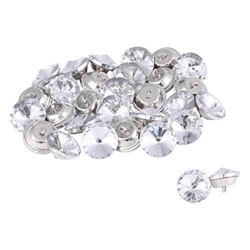ZCHXD 32pcs Furniture Tack Nails 14mm Dia Round Head Diamond Shape Glass Thumbtack DIY Sofa Buttons Headboard Crafts Decorate Silver Tone