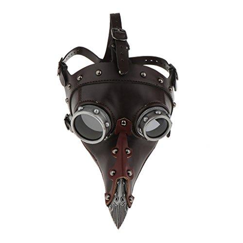 IPOTCH Máscara Steampunk Cuero De La PU Máscara De Nariz Larga Peste Doctor Disfraz Disfraz