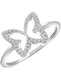 Silvernshine Women's 0.13 Ct Round Cut Sim Diamond Butterfly Shape Ring In 14KT White Gold PL