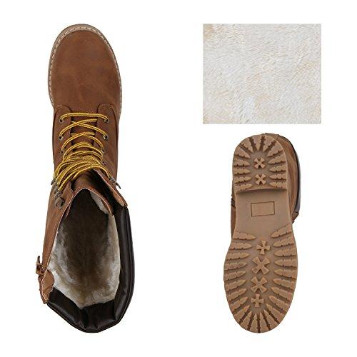 Stiefelparadies Damen Schnürstiefel Worker Boots Profilsohle Combat Boots Stiefel Leder-Optik Schuhe Blockabsatz Booties Flandell Braun