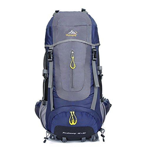 szbtf 70L Rucksack Wasserdicht Outdoor Sport Trekking Camping Pack Bergsteigen Klettern Rucksack mit Regenschutz grau
